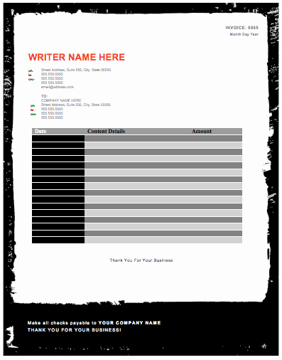 Freelance Writing Invoice Template New Freelance Writer Invoice Template Free Invoice Templates