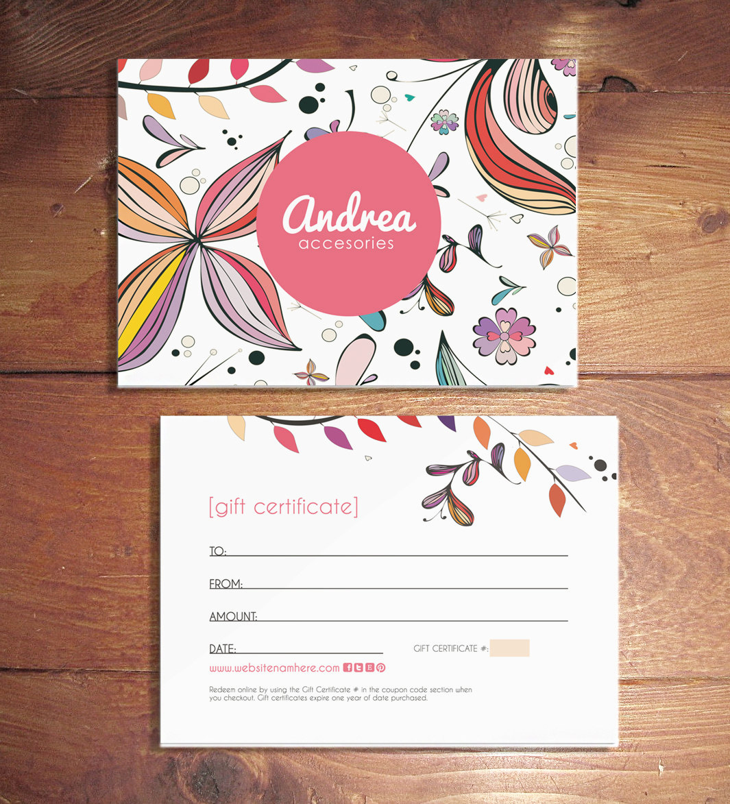 Full Page Gift Certificate Template Awesome andrea Double Sided T Certificate Design Instant