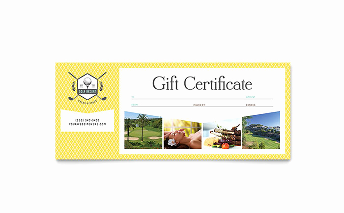 Full Page Gift Certificate Template Elegant Golf Resort Gift Certificate Template Word & Publisher