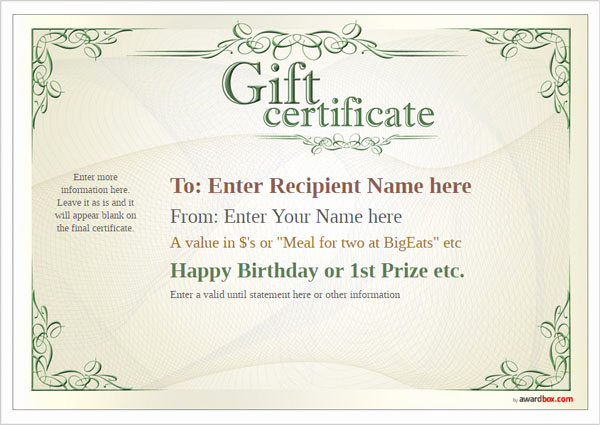 Full Page Gift Certificate Template Fresh Free Printable Gift Certificate Template Designs for Home