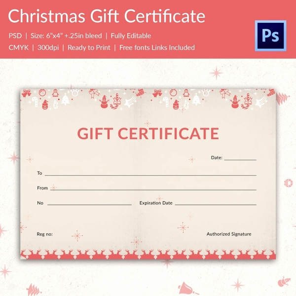 Full Page Gift Certificate Template Inspirational Christmas Gift Certificate Templates 21 Psd format