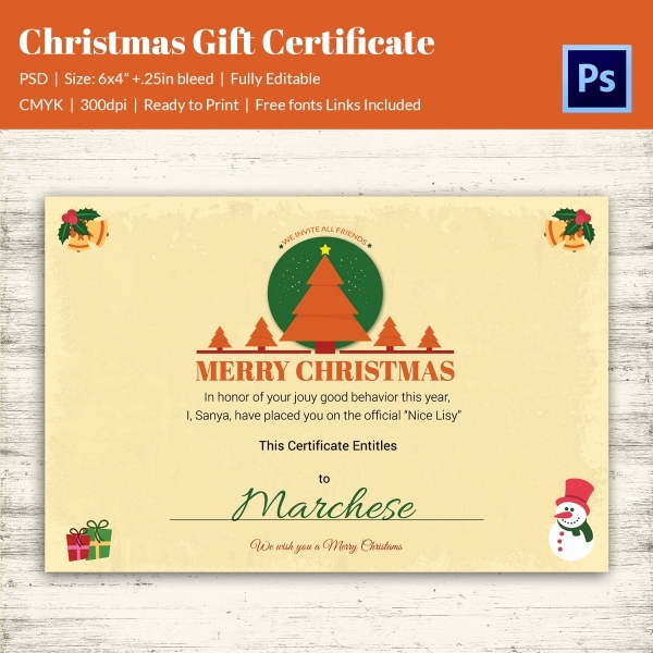 Full Page Gift Certificate Template Lovely 19 Christmas Gift Certificate Templates Printable Psd