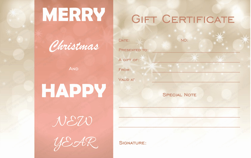 Full Page Gift Certificate Template New Golden Sparks Christmas Gift Certificate Template