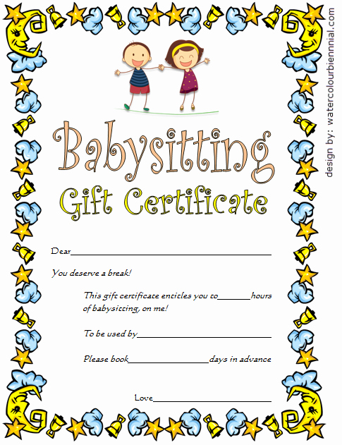 Funny Gift Certificate Template Awesome Babysitting Gift Certificate Template Free [7 New Choices]