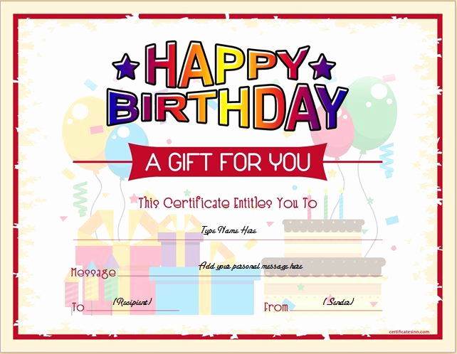 Funny Gift Certificate Template Inspirational Birthday Gift Certificate for Ms Word Download at