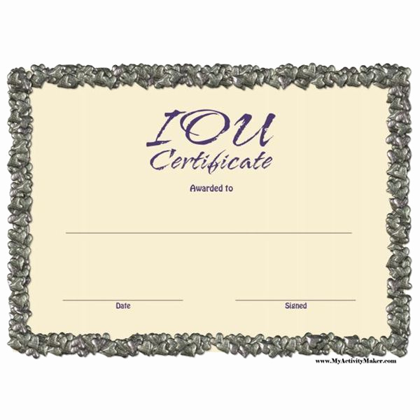 Funny Gift Certificate Template Inspirational Free Printable Iou Certificates