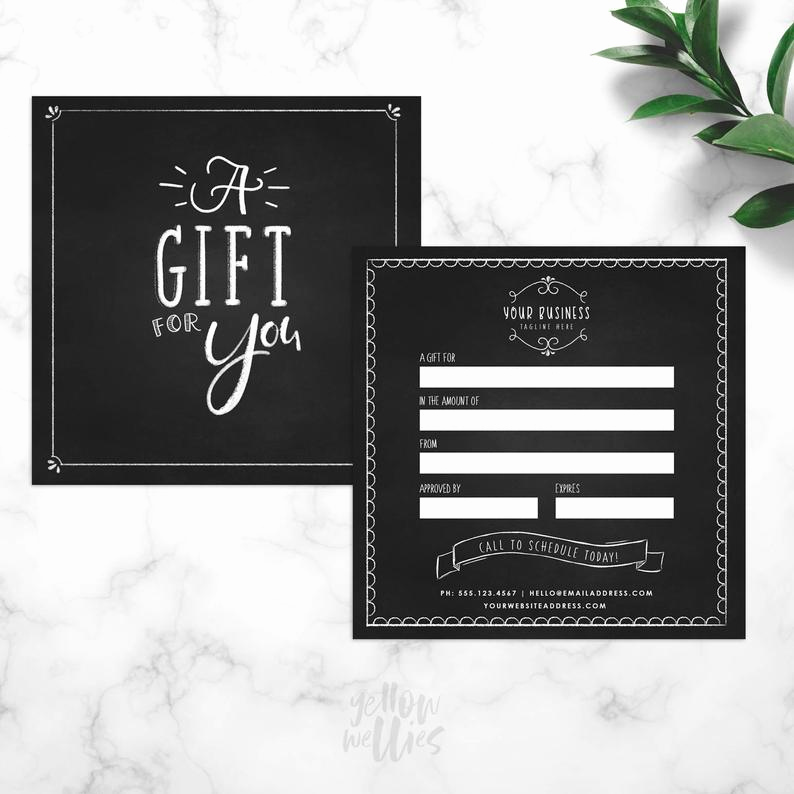 Funny Gift Certificate Template Lovely Chalk Gift Certificate Template Chalk Template Gift Card