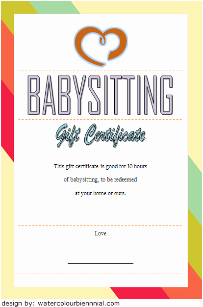 Funny Gift Certificate Template Luxury Babysitting Gift Certificate Template Free [7 New Choices]
