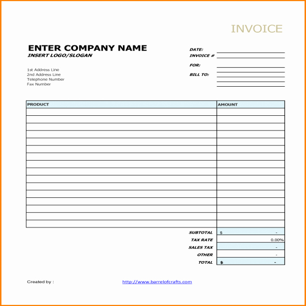 Generic Invoice Template Word Fresh Generic Invoice