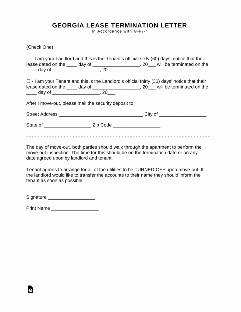 Georgia Eviction Notice Template Awesome Free Georgia Lease Termination Letter form 30 Days Pdf