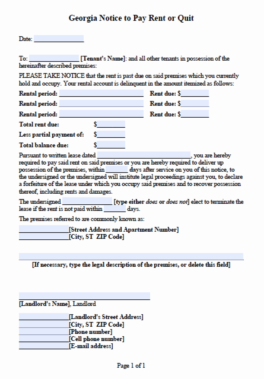 Georgia Eviction Notice Template Awesome Free Georgia Notice to Pay or Quit