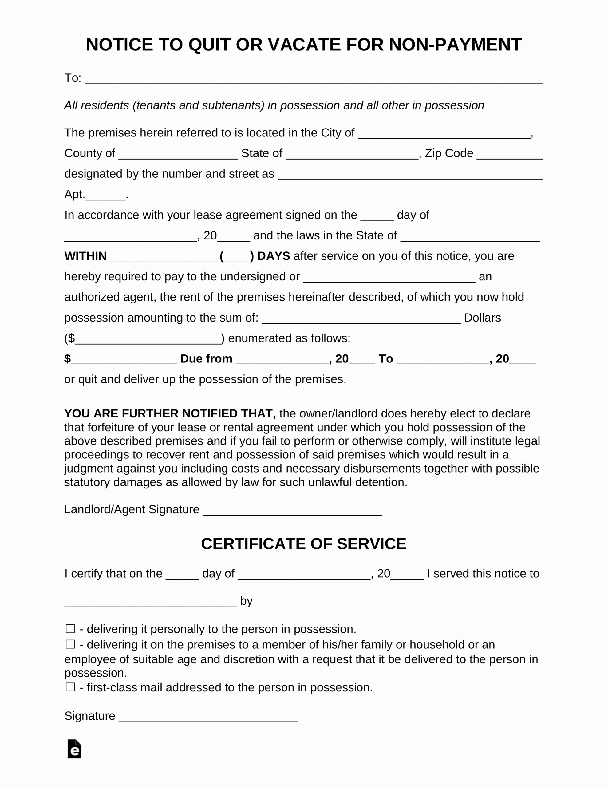 Georgia Eviction Notice Template New Free Notice to Pay or Quit form Late Rent Pdf