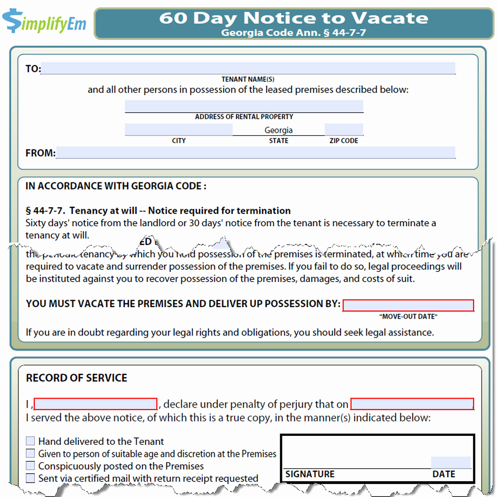 Georgia Eviction Notice Template New Georgia Notice to Vacate