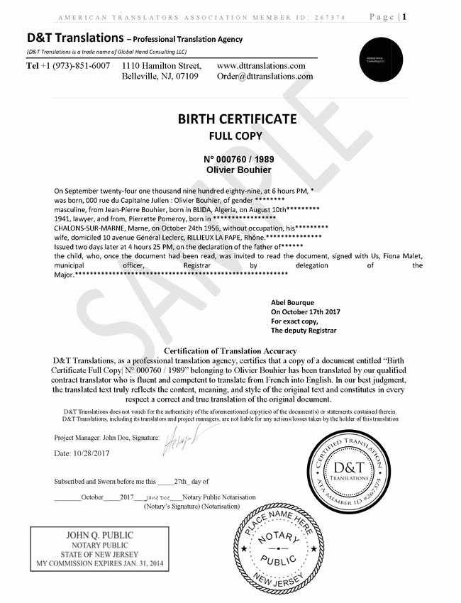 German Birth Certificate Template Best Of Translation Samples D&t Translations