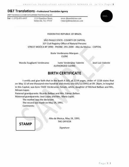 German Birth Certificate Template Fresh Translation Samples D&t Translations