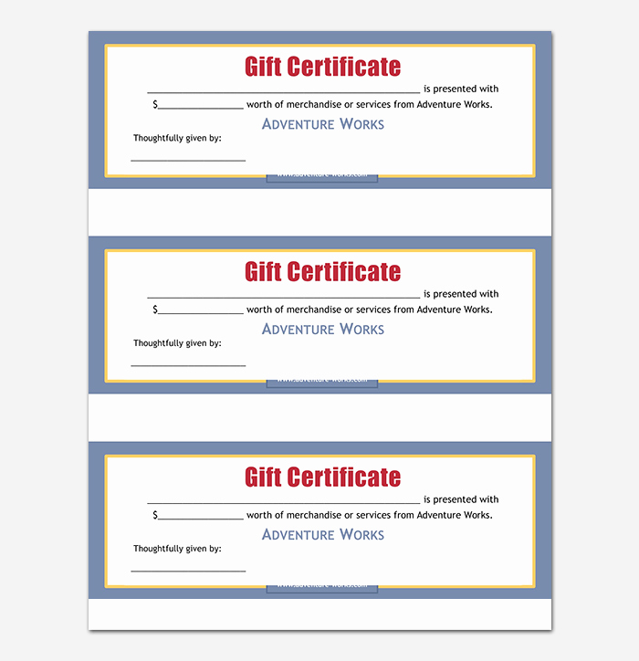 Gift Certificate Template Free Pdf Awesome 44 Free Printable Gift Certificate Templates for Word & Pdf