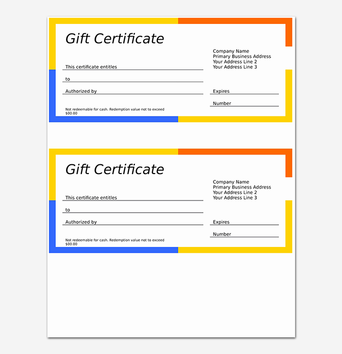 Gift Certificate Template Free Pdf New 44 Free Printable Gift Certificate Templates for Word & Pdf