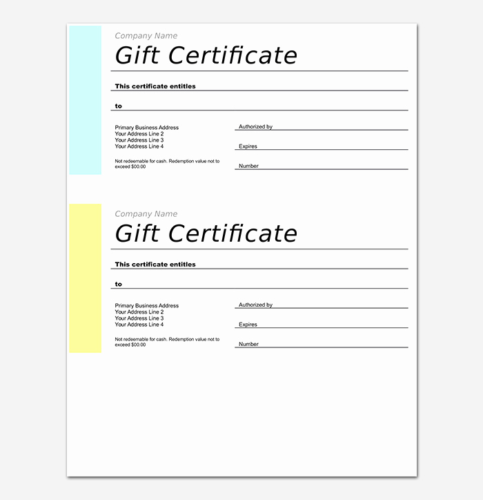Gift Certificate Template Free Pdf Unique 44 Free Printable Gift Certificate Templates for Word & Pdf