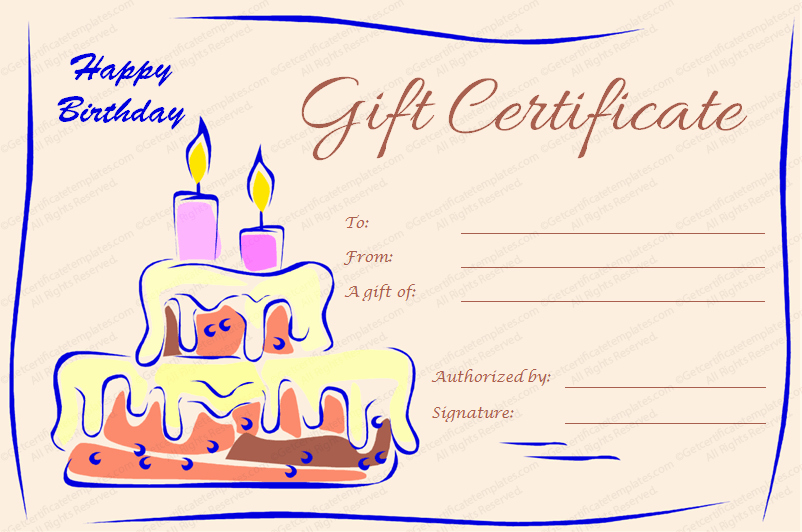 Gift Certificate Template Free Pdf Unique Birthday Gift Certificate Templates Editable & Printable