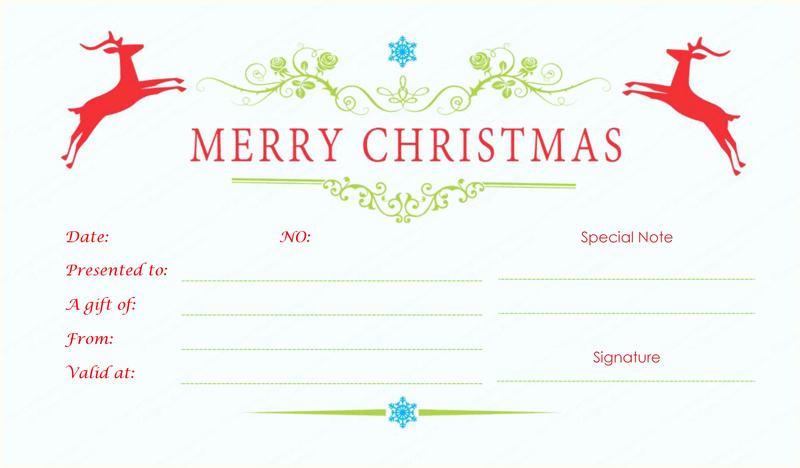 Gift Certificate Template Free Pdf Unique Double Reindeer Christmas Gift Certificate Template