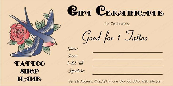 Gift Certificate Template Free Pdf Unique Tattoo Gift Certificate Template