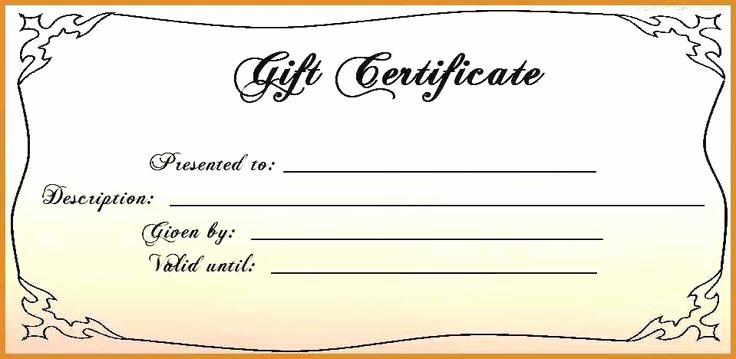 Gift Certificate Template Printable Awesome Free 4x6 Gift Certificate Template Printable Gift