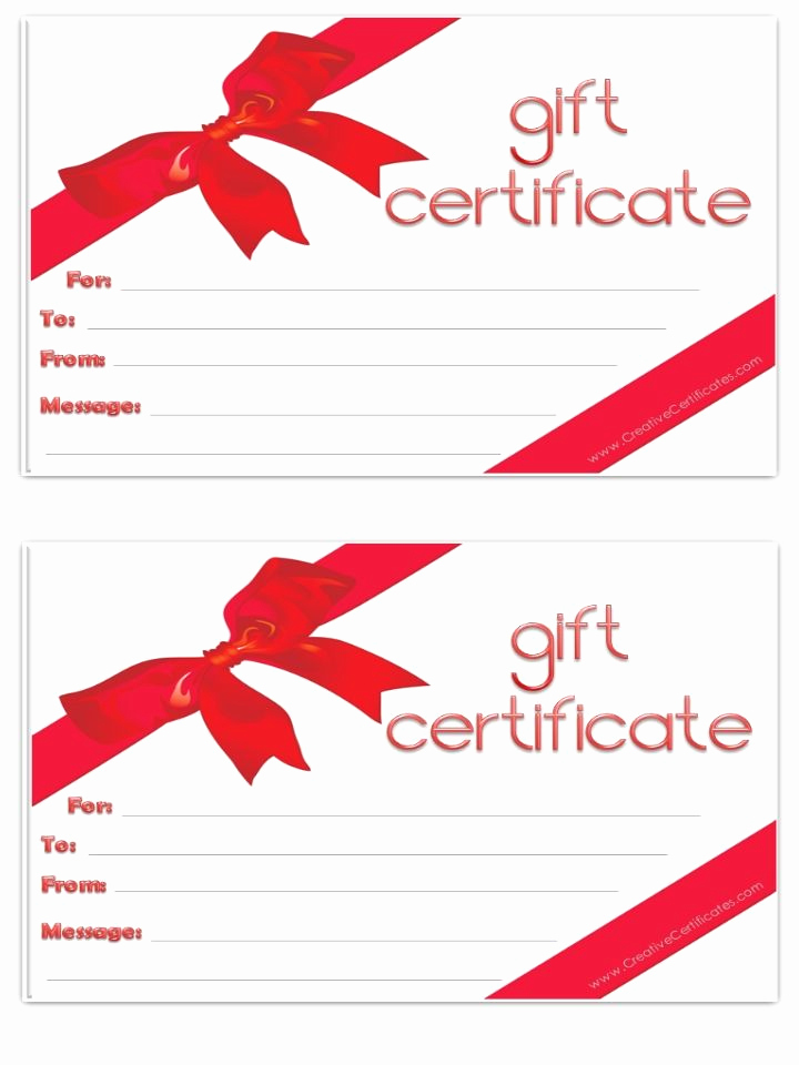 Gift Certificate Template Printable Inspirational Free Gift Certificate Template