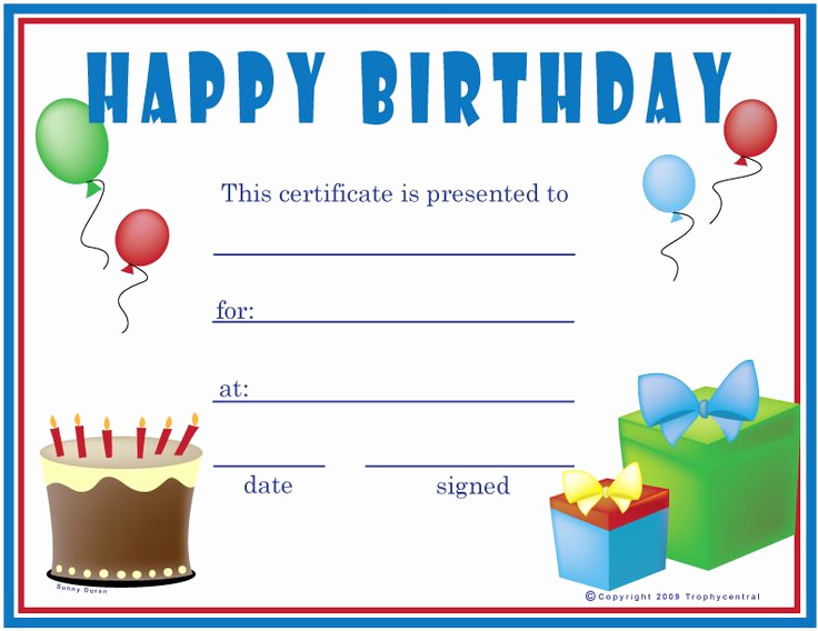Gift Certificate Template Printable Luxury Free Birthday Boy Certificates Certificate Free