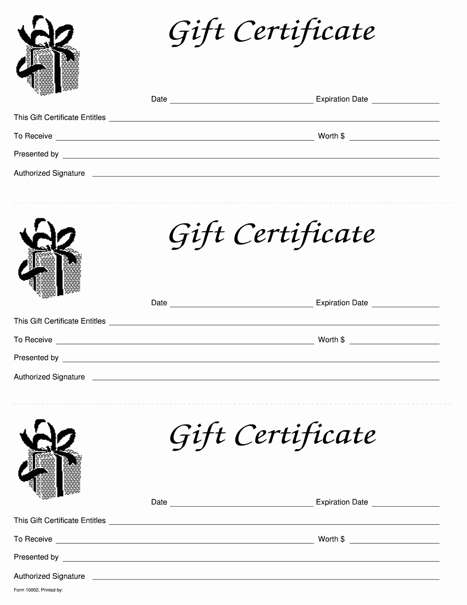Gift Certificate Template Printable New Gift Certificate Pdf form Get Line Blank to Fill Out