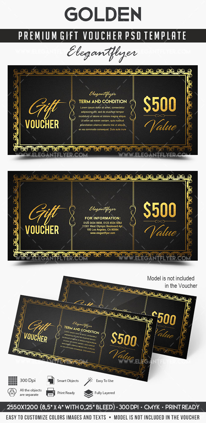 Gift Certificate Template Psd Awesome Golden – Premium Gift Certificate Psd Template – by