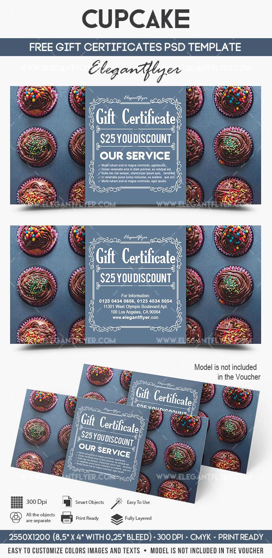 Gift Certificate Template Psd Beautiful Cupcake – Free Gift Certificate Psd Template – by Elegantflyer