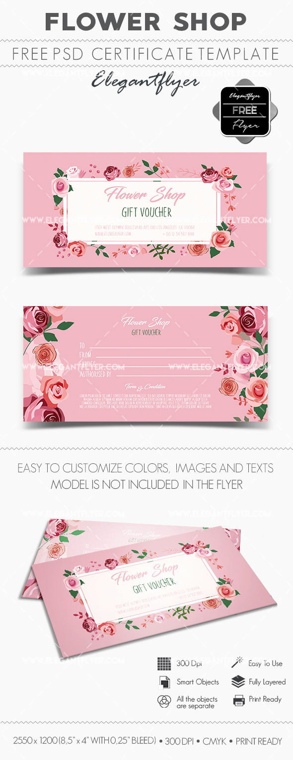 Gift Certificate Template Psd Fresh Flower Shop – Free Gift Certificate Psd Template – by