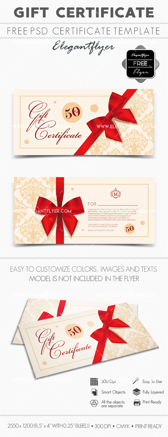 Gift Certificate Template Psd Lovely Free Gift Certificate Psd Template – by Elegantflyer