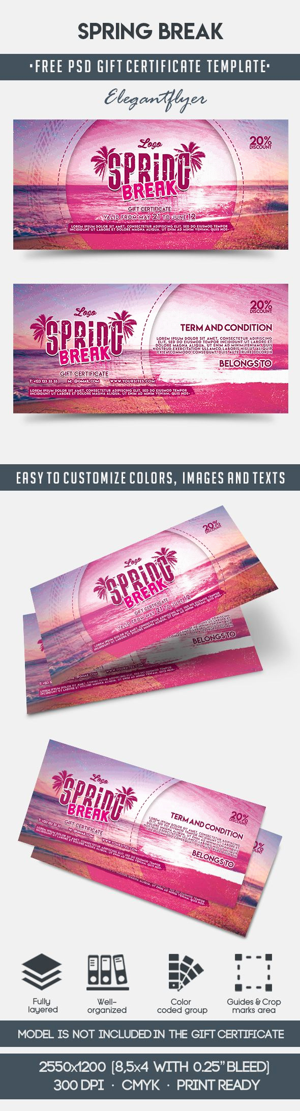 Gift Certificate Template Psd Lovely Spring Break – Free Gift Certificate Psd Template – by