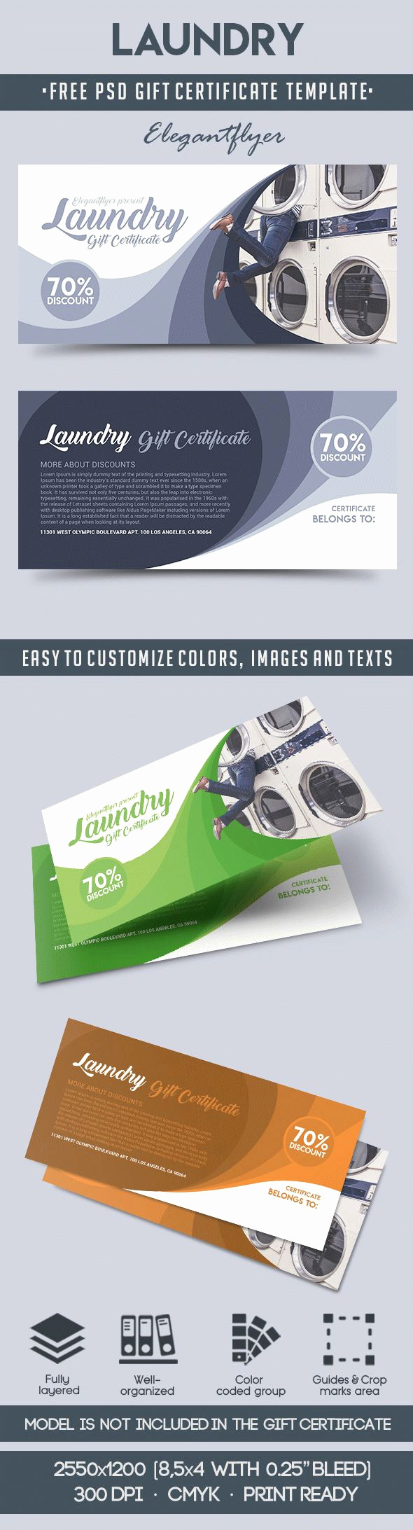Gift Certificate Template Psd New Laundry – Free Gift Certificate Psd Template – by Elegantflyer