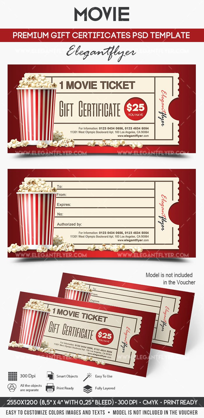 Gift Certificate Template Psd Unique Movie Gift Certificate Psd Printable – by Elegantflyer