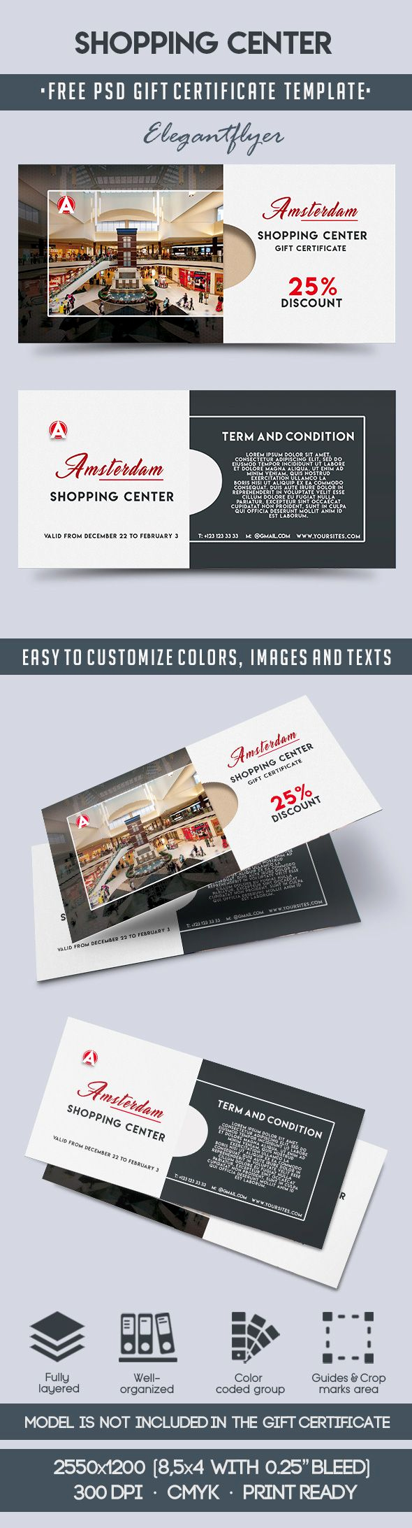 Gift Certificate Template Psd Unique Shopping Center – Free Gift Certificate Psd Template – by