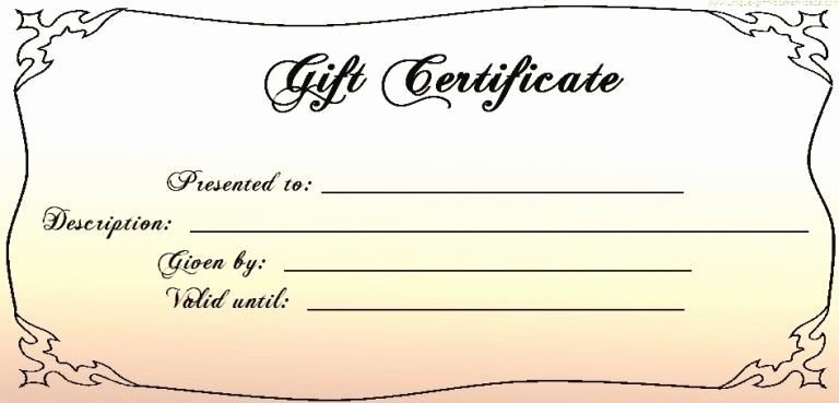 Gift Certificate Template Word Free Elegant Templates for Gift Certificates Free Downloads Intended