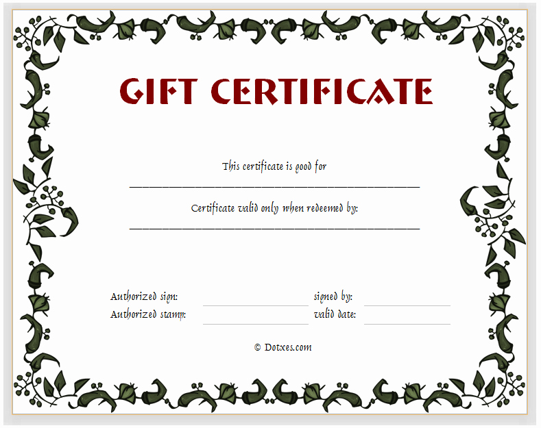Gift Certificate Template Word Free Lovely Gift Certificate Template Floral Design Dotxes