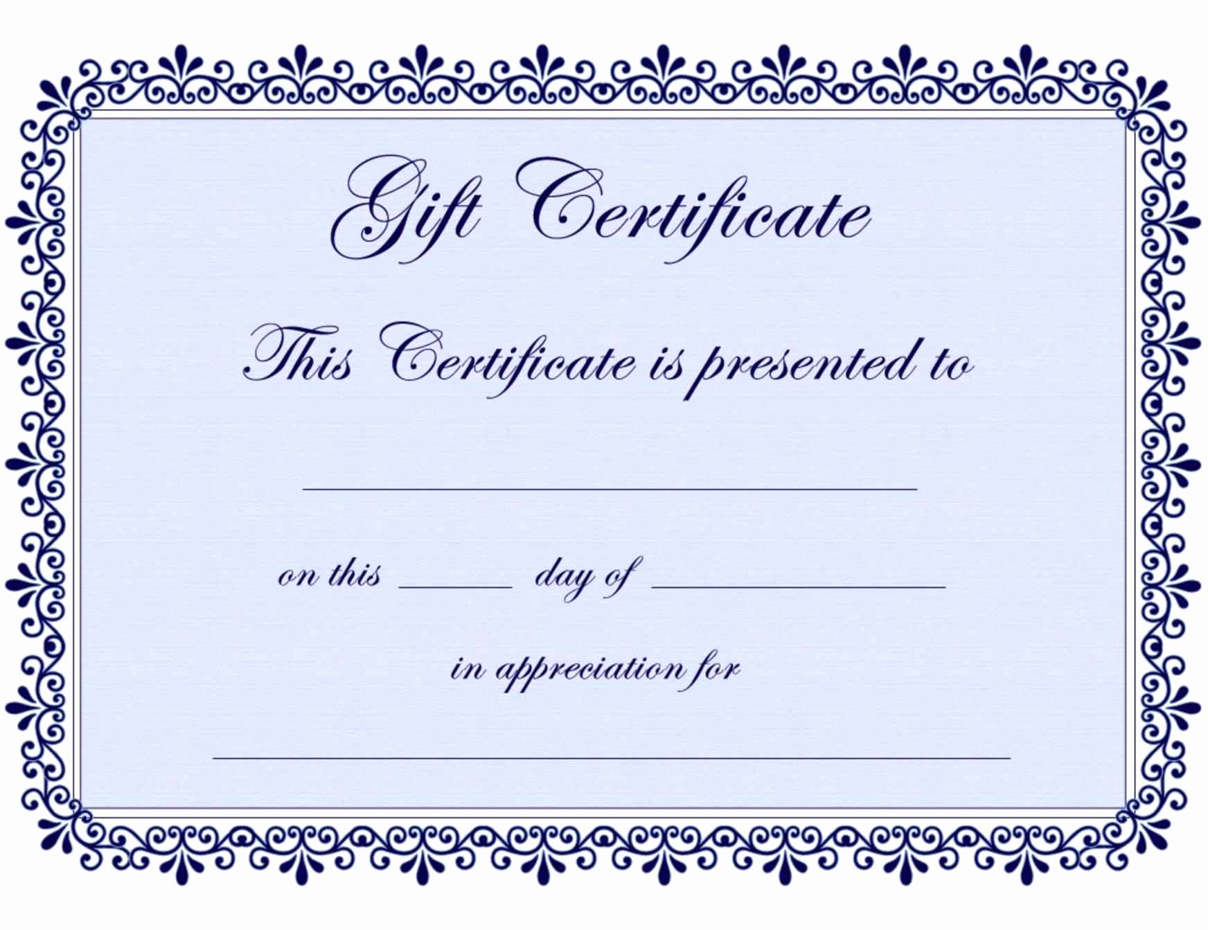 Gift Certificate Template Word Free Unique Free Printable Gift Certificate Template Word Template