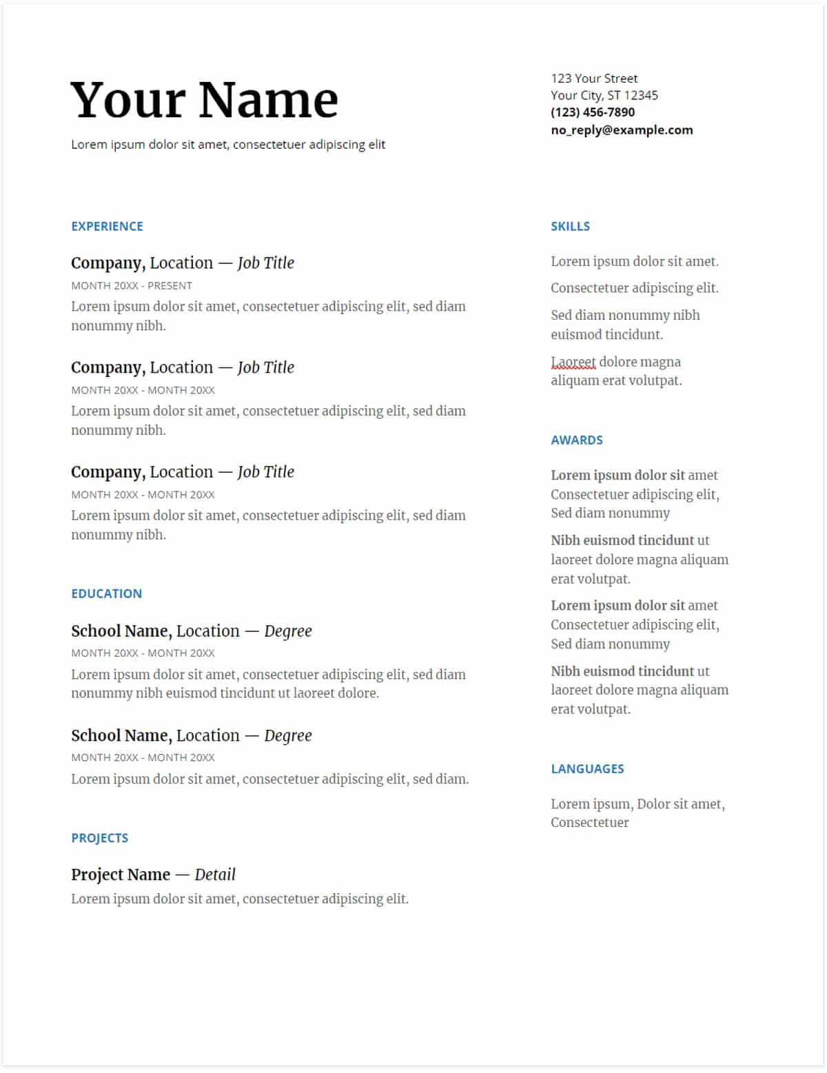 Google Docs Budget Template New Resume Template Google Docs