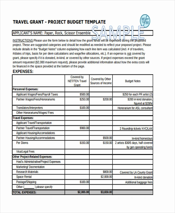 Grant Budget Template Excel Inspirational Travel Bud Templates 11 Free Pdf Word format