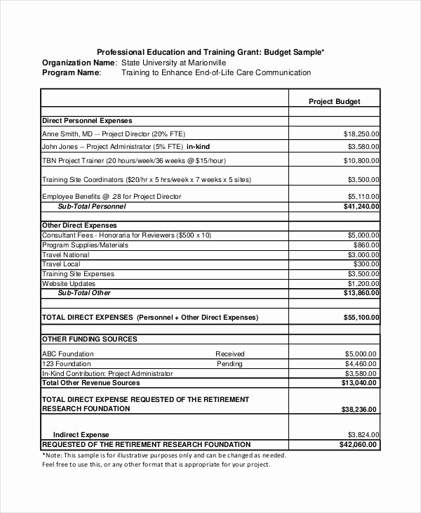 Grant Budget Template Excel Lovely Grant Bud Template 10 Free Pdf Word Documents