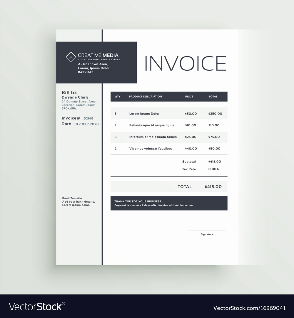 Graphic Design Invoice Template Free Best Of Creative Invoice Template Design Royalty Free Vector Image
