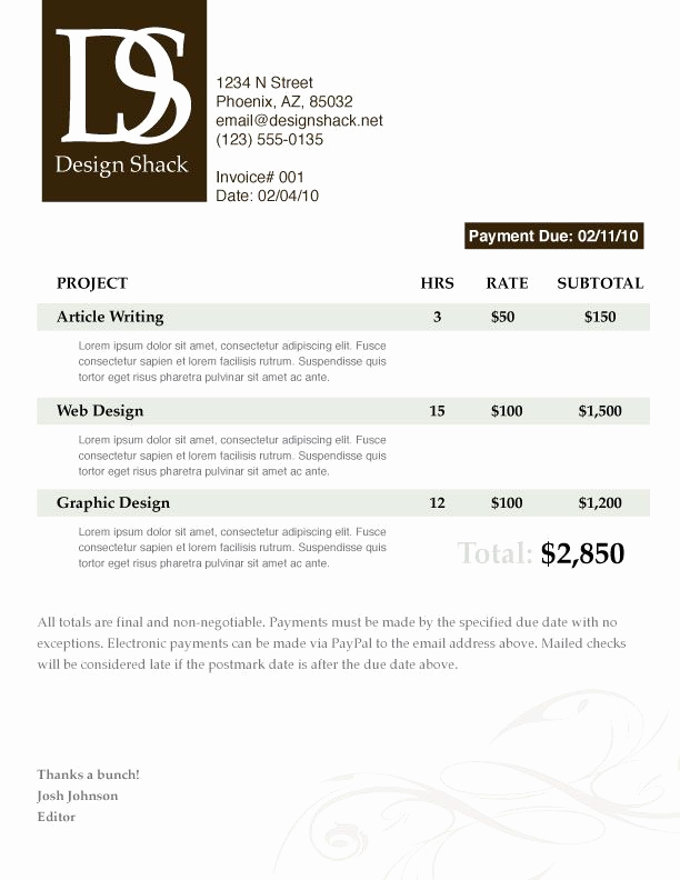 Graphic Design Invoice Template Free Inspirational Creating A Well Designed Invoice Step by Step
