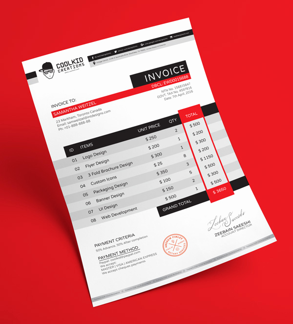 Graphic Design Invoice Template Free Inspirational Free Professional Business Invoice Design Template In Ai