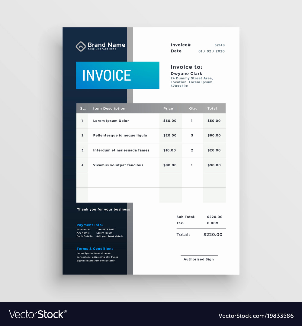 Graphic Design Invoice Template Free Inspirational Modern Invoice Template Design Royalty Free Vector Image