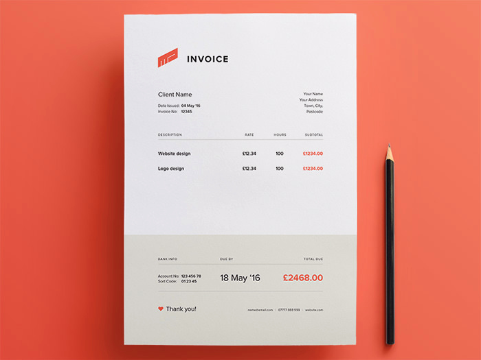 Graphic Design Invoice Template Free Lovely 50 Creative Invoice Designs for Your Inspiration Hongkiat
