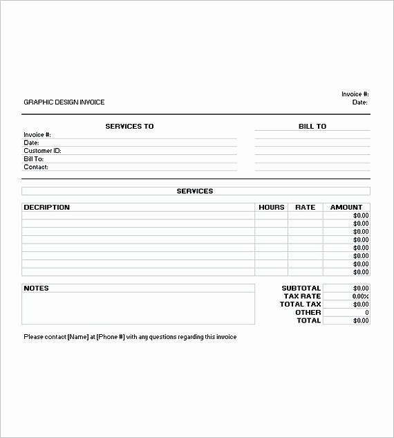 Graphic Design Invoice Template Free Lovely Graphic Design Invoice Template