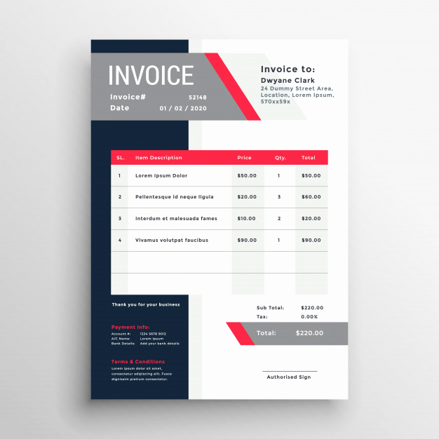 Graphic Design Invoice Template Free Lovely Professional Invoice Template In Red theme Vector